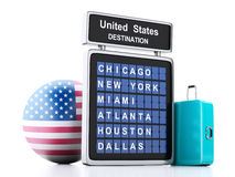 3d united states airport board and travel suitcases on white ba Royalty Free Stock Image