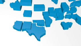 3D United States of America map. United States of America map (USA) - 3D animation/ 3D rendering stock footage