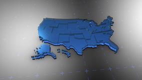 3D United States - Translucent. 3D animation map for infographic stock illustration