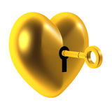 3d Unlock the heart of gold Royalty Free Stock Photos