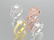 3D unterschiedliches Gold der Illustration vier oder silberner dekorativer Diamant Stockbilder