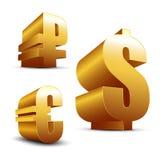 3D unterzeichnet Dollar-Euro und Rubel Stockfoto