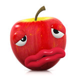 3d Unwell apple. 3d render of an apple looking rather ill Royalty Free Stock Photography