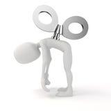3d uomo con una grande chiave sulla parte posteriore, efficienza nel concetto di affari Fotografia Stock