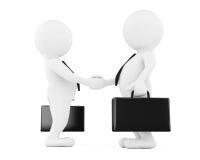 3d uomo d'affari Characters Shaking Hands rappresentazione 3d Immagini Stock