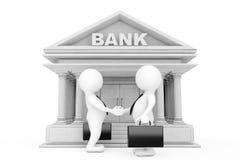 3d uomo d'affari Characters Shaking Hands vicino alla costruzione della Banca 3D r Fotografie Stock Libere da Diritti