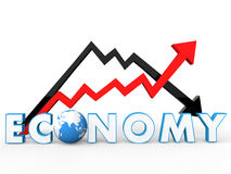 3d up and down arrows with global economy concept. 3d render of up and down arrows with global economy concept Royalty Free Stock Image