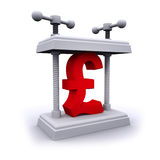 3d UP Pounds Sterling currency symbol under pressure. 3d render of a UK Pounds Sterling currency symbol being crushed in a vice stock illustration