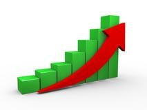3d upward progress business chart arrow. 3d illustration of upward moving progress arrow and business progress bars Royalty Free Stock Photography