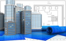 3d with urban scene. 3d illustration of city buildings with urban scene over blueprint background Royalty Free Stock Images