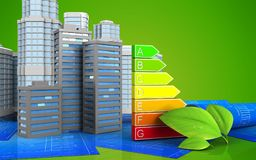 3d with urban scene. 3d illustration of city buildings with urban scene over green background Stock Photography