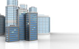 3d with urban scene. 3d illustration of city buildings with urban scene over white background Stock Images