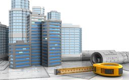 3d with urban scene. 3d illustration of city buildings with urban scene over white background Royalty Free Stock Images