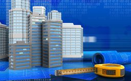 3d with urban scene. 3d illustration of city buildings with urban scene over digital background Royalty Free Stock Photos
