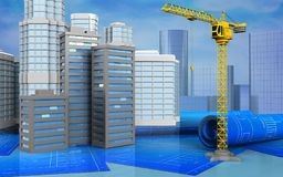 3d with urban scene. 3d illustration of city buildings with urban scene over skyscrappers background Royalty Free Stock Image