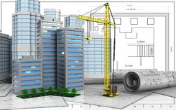 3d with urban scene. 3d illustration of living quarter with urban scene over blueprint background Royalty Free Stock Image