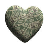 3d US Dollars form a heart. 3d render of a heart made of US Dollar bills Stock Images
