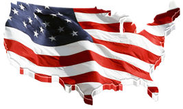 3D US map and US flag Stock Photo