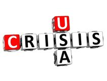 3D USA Crisis Crossword. On white background Royalty Free Stock Images