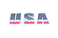 3D USA, das mit Flagge schreibt stockbilder