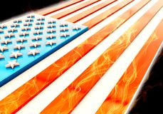 3d USA flag. With flames, 3d rendering Stock Photography