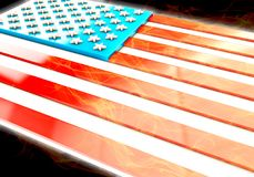 3d USA flag, 3d rendering. 3d USA flag with flames Stock Image