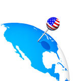 3d USA pin in america. Map globe Royalty Free Stock Photos
