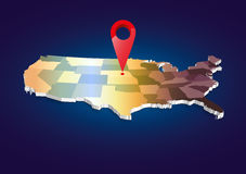 3D USA State map Royalty Free Stock Image
