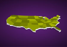 3D USA State map Royalty Free Stock Photo