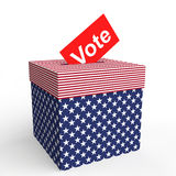 3d USA themed ballot box and vote Royalty Free Stock Image