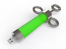 3d USB antivirus zastrzyk Zdjęcia Royalty Free