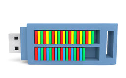 3d USB flash drive and books. 3d render of USB flash drive as bookshelf containing books Stock Images