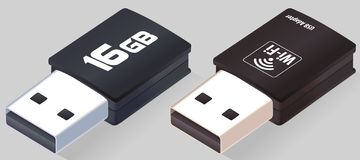 Isometric USB flash drive. Wi-Fi Adapter. Realistic Pen drives. Flash disk. Opened memory sticks isolated on gray background in 3D royalty free illustration