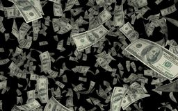 3D USD/Dollar雨黑背景的例证 皇族释放例证