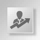 3D User Growth icon Business Concept Stock Photos
