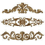 3d ustawiający antyczny złocisty ornament na białym tle Zdjęcia Stock