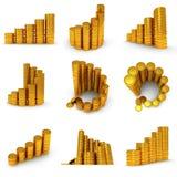 3d ustawiający rozkład złote monety na bielu Obrazy Royalty Free