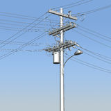 3D utility pole against blue skies. 3D chrome telephone or utility pole with street lamp against blue skies stock photography