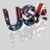 3D V.S. die met Textuur van de grunge de Nationale Vlag en Spiegelbezinning van letters voorzien Vector Illustratie