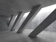 3d vacian el interior con las columnas concretas diagonales Foto de archivo libre de regalías