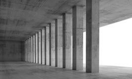 3d vacian el interior con las columnas concretas y las ventanas blancas Imagenes de archivo