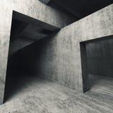 3d vacian el interior concreto, paredes con las entradas Imagen de archivo