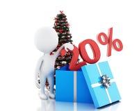 3d vakje met 20 percententekst en Kerstmisboom stock illustratie