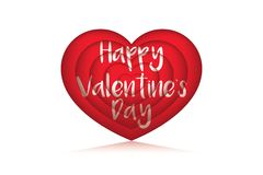 3D valentie love balloon with reflection. Simple but gorgeous valentine card in white background saying happy valentines day Royalty Free Stock Photo