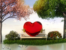 3D Valentin  view for love and romance. With heart shape, beautiful summer and spring trees and some birds Stock Photography