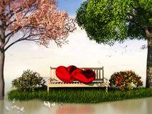3D Valentin  view for love and romance. With heart shape, beautiful summer and spring trees and some birds Royalty Free Stock Images