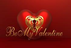 3D Valentine Heart Background romântico vermelho com seja meu texto do Valentim Fotos de Stock Royalty Free