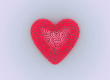 3d valentine heart. 3d valentine beautiful heart from floral ornament Royalty Free Stock Photos