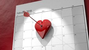 3D Valentine`s Day Calendar with Arrow Pinned Heart. A 3D illustration of a calendar with a valentine`s heart being pinned to the 14th of the month Royalty Free Stock Image