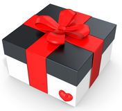 3d valentines day gift in white box with red heart and ribbon Royalty Free Stock Photography